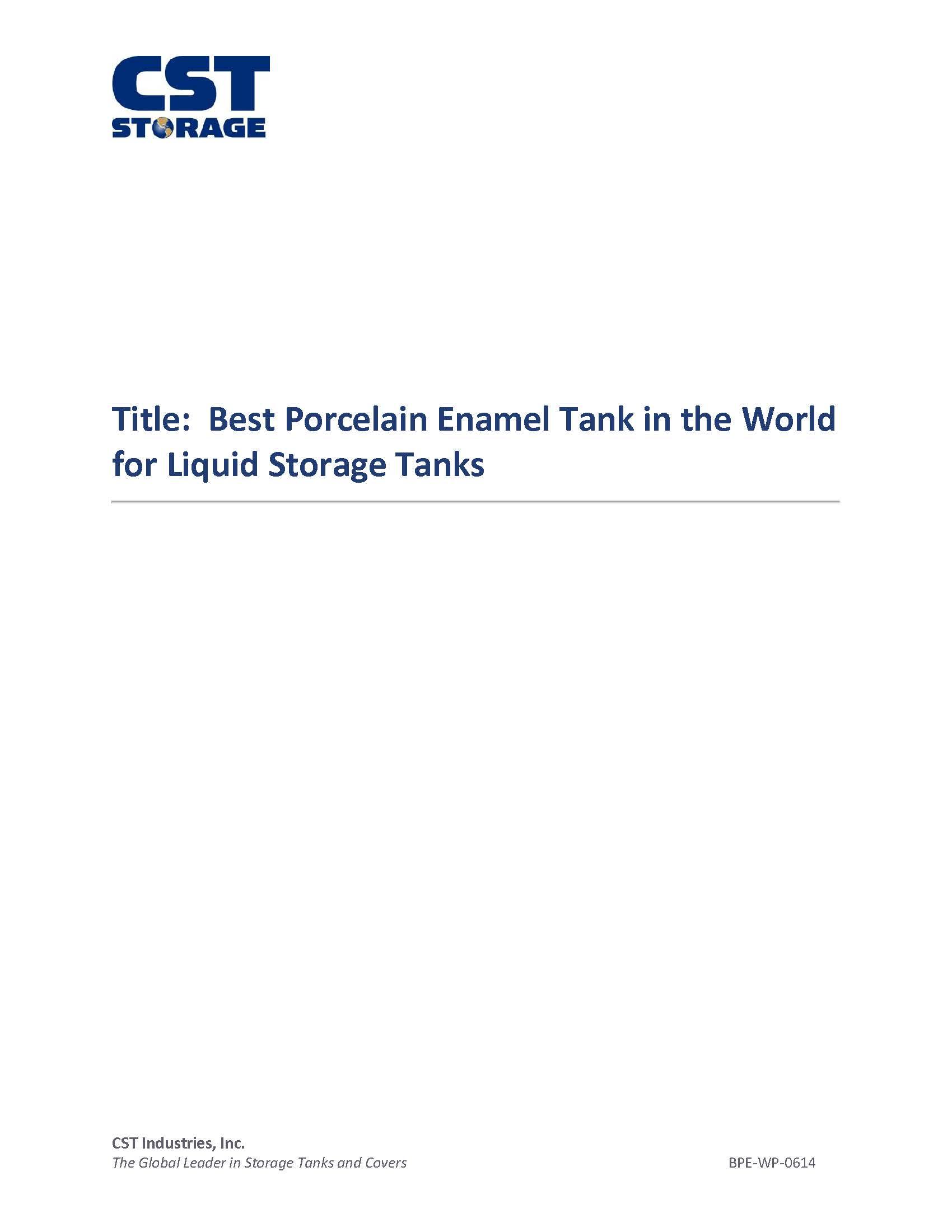 Best Porcelain Enamel Tank in the World for Liquid Storage Tanks